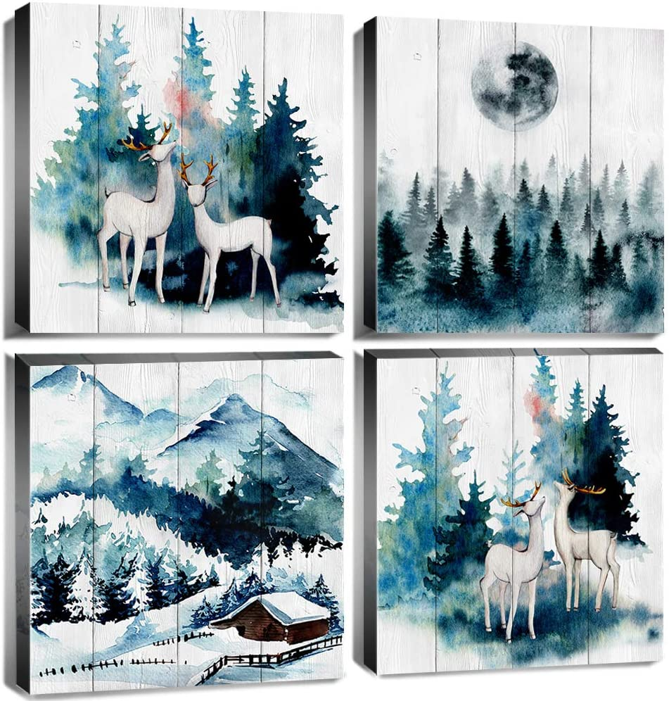 Forest Wall Art Decor Watercolor Canvas Print Misty Foggy Pine Trees Natural Landscape Mountain Deer Pictures Artwork Framed Navy Blue Painting Modern Home Decoration Ready to Hang 12x12 Inch 4 Panels