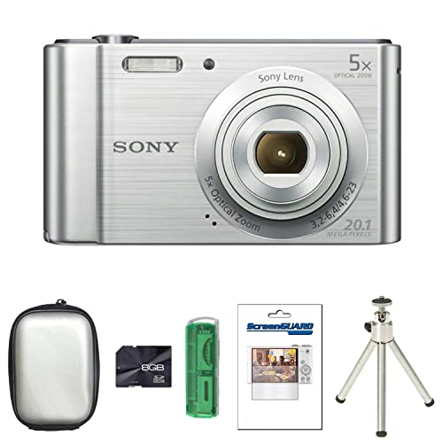 Sony DSCW800 Digital Camera - Silver + Case + 8GB Card + Multi Card Reader + Screen Protector and Tripod (20.1MP, 5x Optical Zoom) 2.7 inch LCD