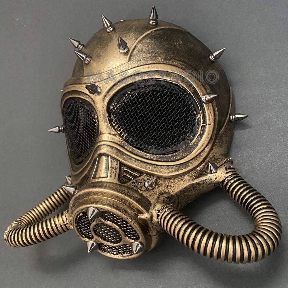 Costume Halloween Dance Venetian Stud Cosplay Gold Steampunk Crossed Gas Mask