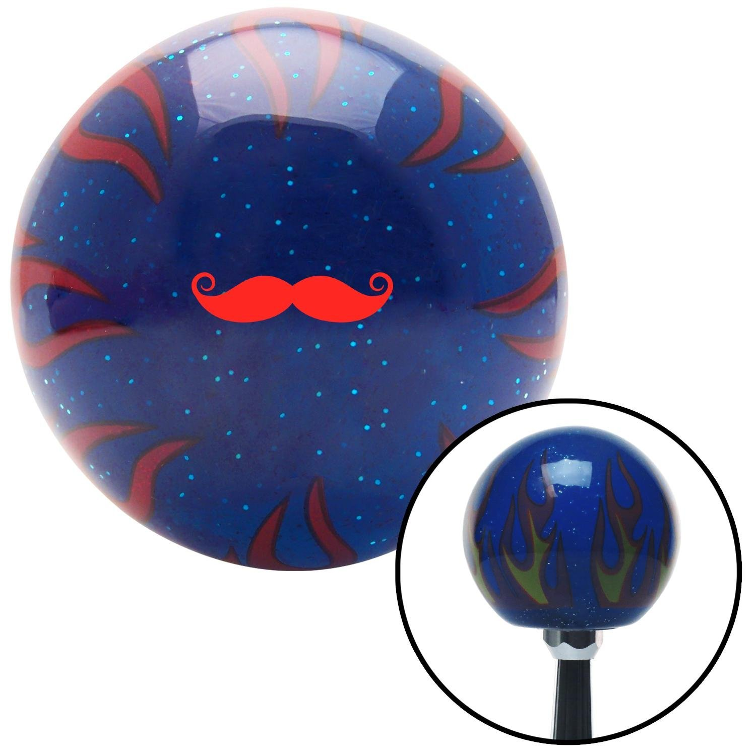 Red Mustache French Blue Flame Metal Flake with M16 x 1.5 Insert American Shifter 298258 Shift Knob