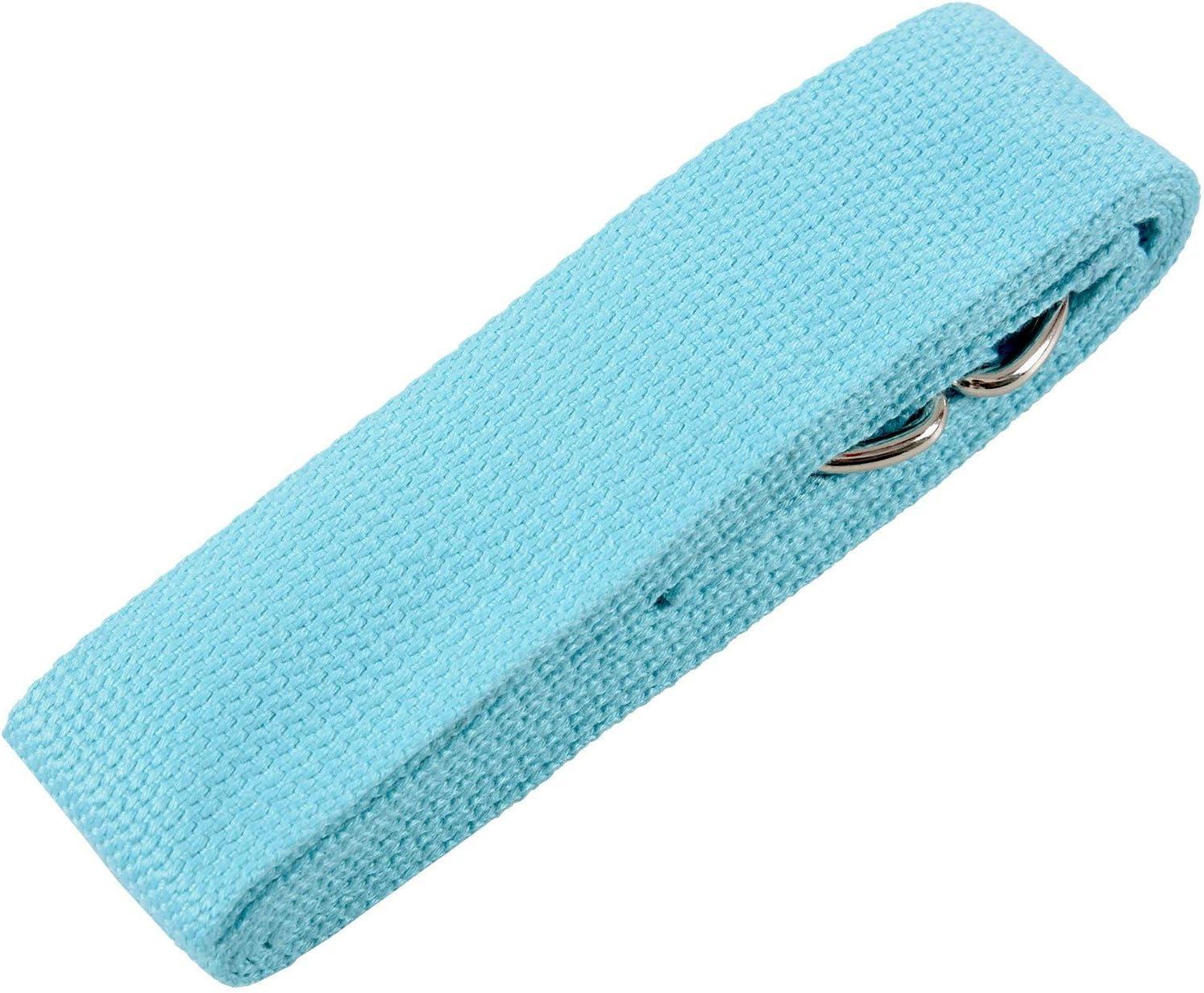 Beauneo Accessoires de Yoga Taille Reglable de Fitness de Jambe Sangle dentrainement de Stretch de la Longueur de 180 CM avec Anneau-D,Ceinture en Coton avec Boucle Violet Leger