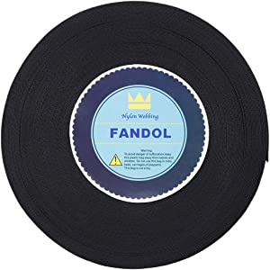 FANDOL Nylon Webbing - Heavy Duty Strapping for Crafting Pet Collars, Shoulder Straps, Slings, Pull Handles - Repairing Furniture, Gardening, Outdoor Gear & More (2 inch x 50 Yards, Black)
