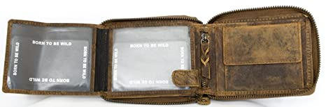 Billetera Born to be wild marrón de cuero naturales con el escorpión: Amazon.es: Equipaje