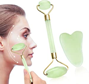 Anti-Aging Jade Roller & Gua Sha Scraping Massage Tool Natural Jade Roller for Face and Neck Massage Skin Care (a1, aa)