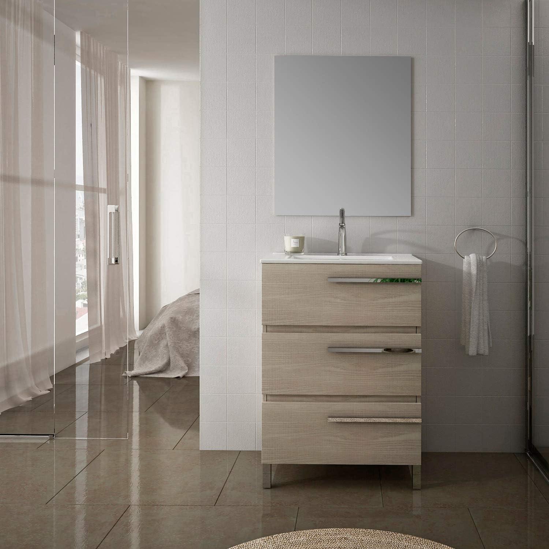 Eviva Olivia 20 X 16 Medium Oak Modern Bathroom Vanity W White Integrated Top Amazon Com