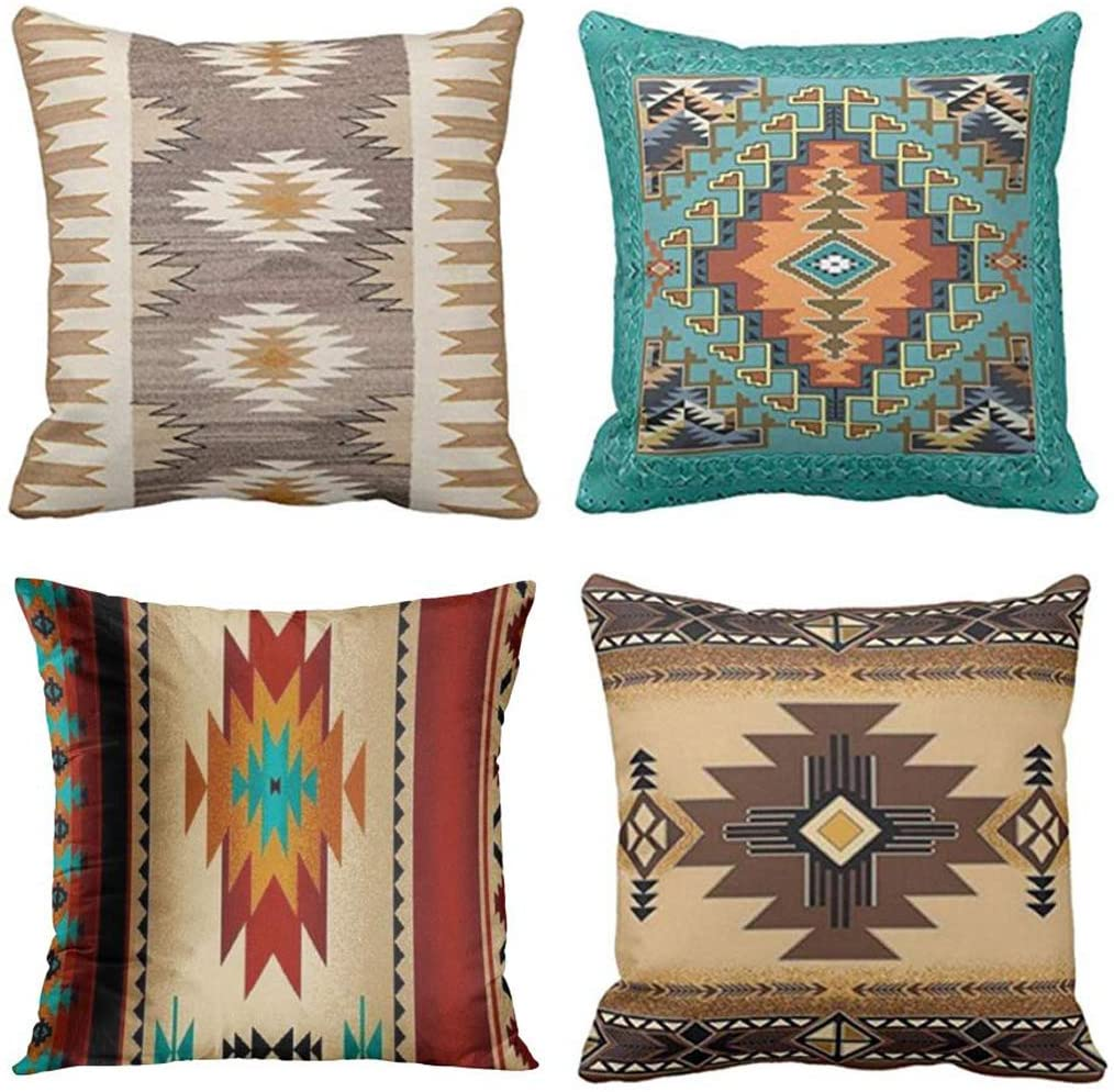 Emvency Set of 4 Throw Pillow Covers Tribal Western Geometric Colorful Nature Color Patterns Sw Turq Orange Decorative Pillow Cases Home Decor Square 20x20 Inches Pillowcases