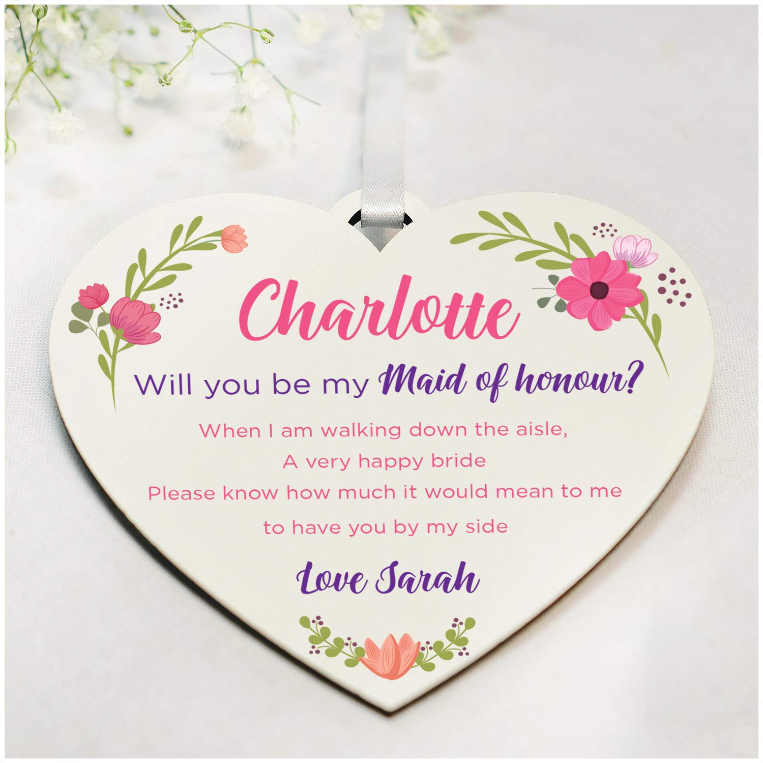 Handmade Be My Bridesmaid Custom Will You Be Wedding Gifts Daughter Best Friends Maid of Honour Will You Be My Maid of Honour Gifts PERSONALISED for Wedding Sister Flower Girl Gifts for Her