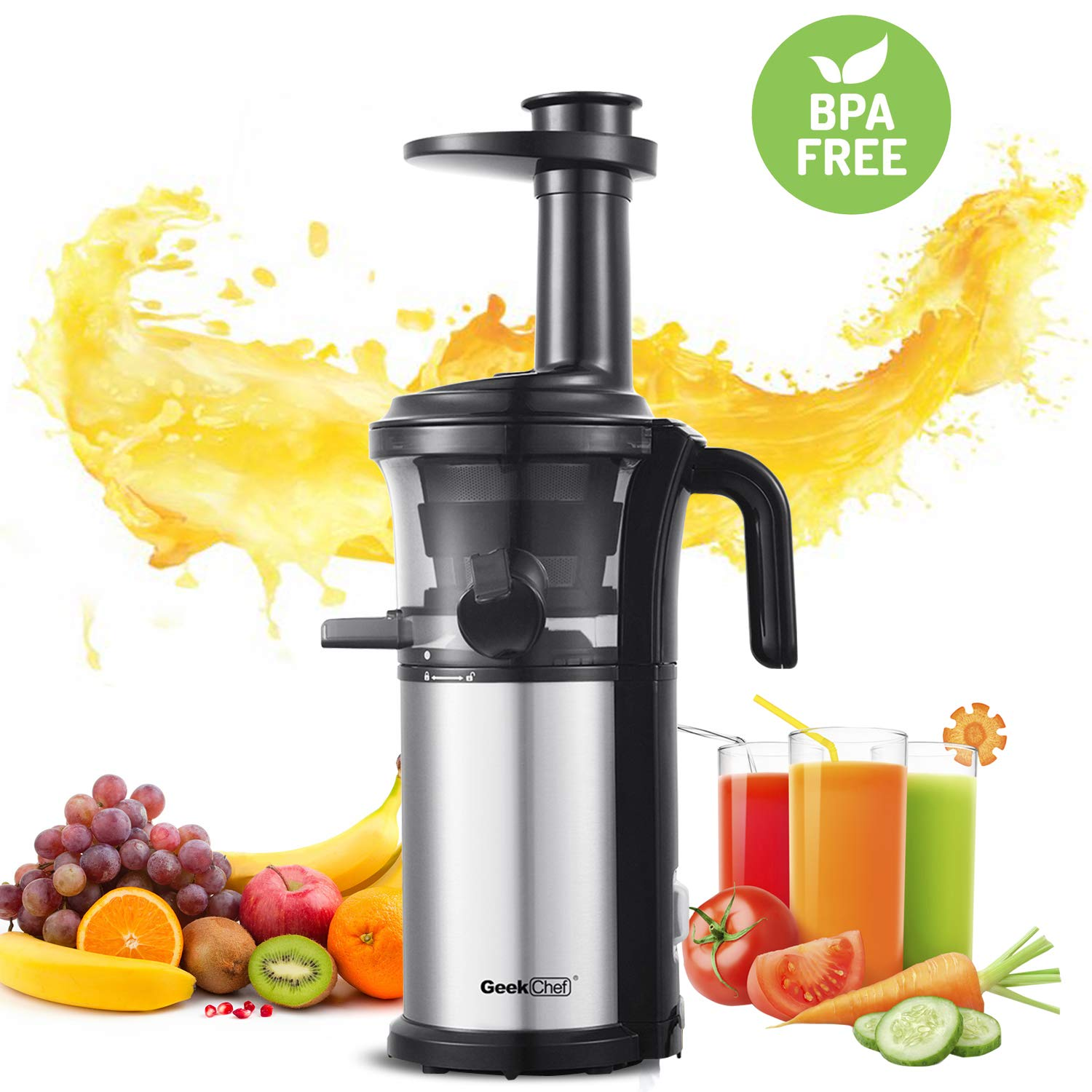 Slow Masticating Juicer Geek Chef Extractor Compact Cold Press Juicer Machine with Portable Handle Quiet Motor Reverse Function Juice Jug and Clean Brush for High Nutrient Fruit Vegetable Juice