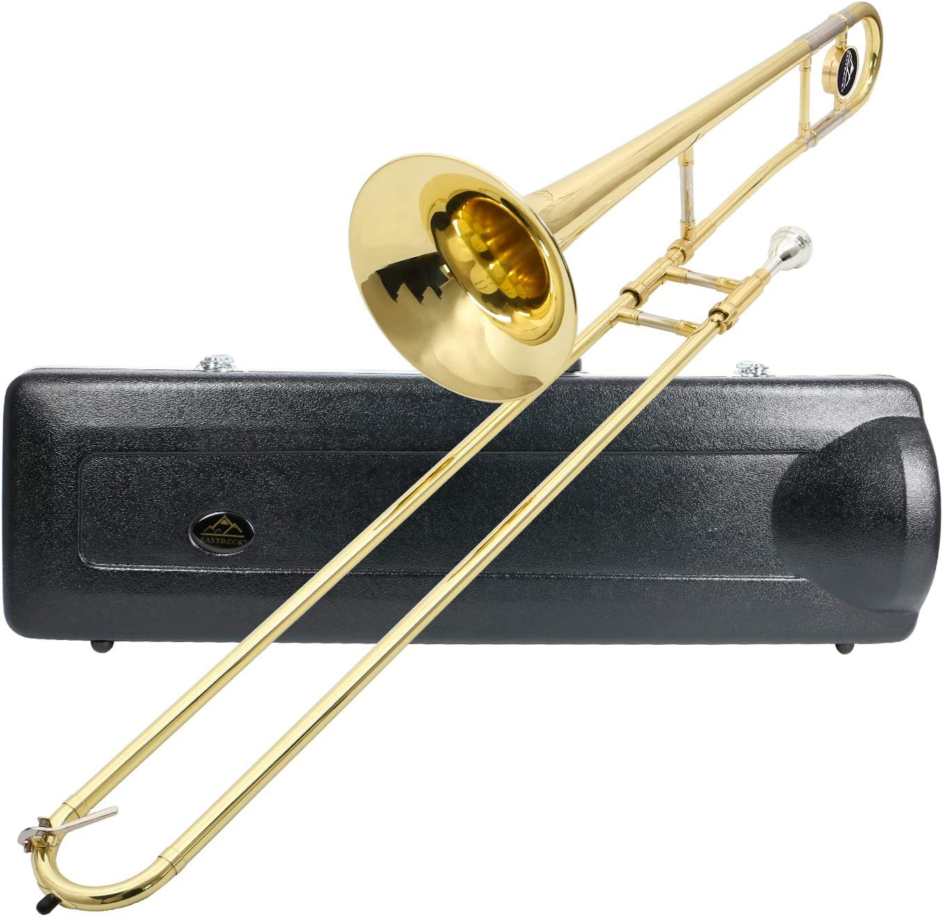 Eastrock Trombone Bb Tenor Slide Gold Trombone Brass Musical Instrument With Hard Case Mouthpiece And Care Kit For Standard Student Beginner Trombone Musical Instruments