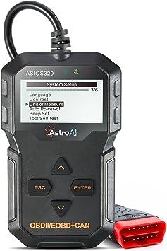 AstroAI OBD2 Diagnostico Diagnosis Coche Multimarca, Scanner para Vehiculos Lee y Borra Códigos de Error con Pantalla Luz: Amazon.es: Coche y moto