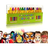 GiBot Face Paint Crayons 16 Colors Face and Body Paint Sticks Body Tattoo Crayons Kit for Kids, Child,Toddlers, Adult and Wor