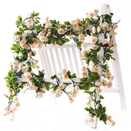 Guirnalda de rosas artificiales, rosas con hojas verdes, 3 unidades ...
