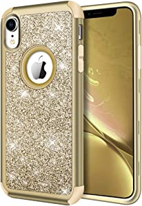 Hython Compatible with iPhone XR Case, Heavy Duty Full-Body Defender Protective Bling Glitter Sparkle Hard Shell Armor Hybrid Shockproof Silicone Rubber Bumper Cover for iPhone XR 6.1-Inch, Gold