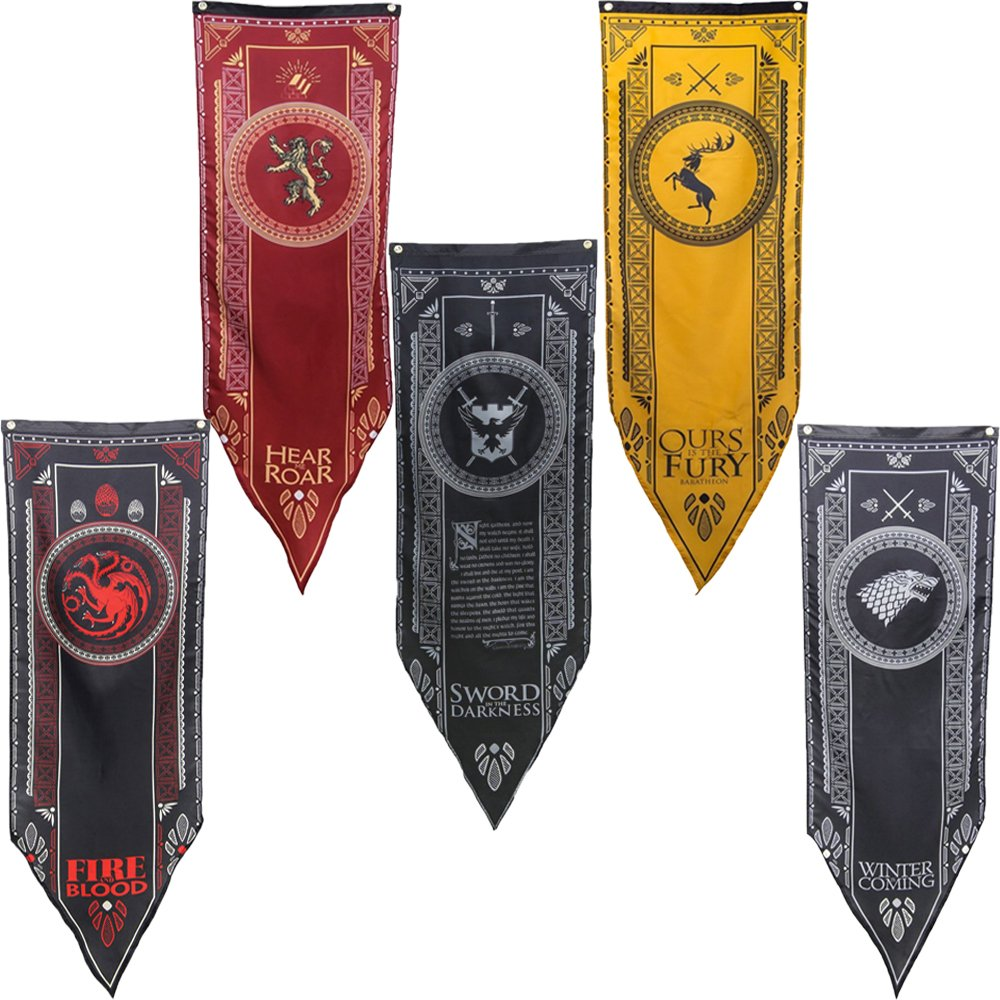GOT Tournament Banners 5 pc. Set - Thick Double Layered - House Stark, Lannister, Targaryen, Baratheon, and Night's Watch
