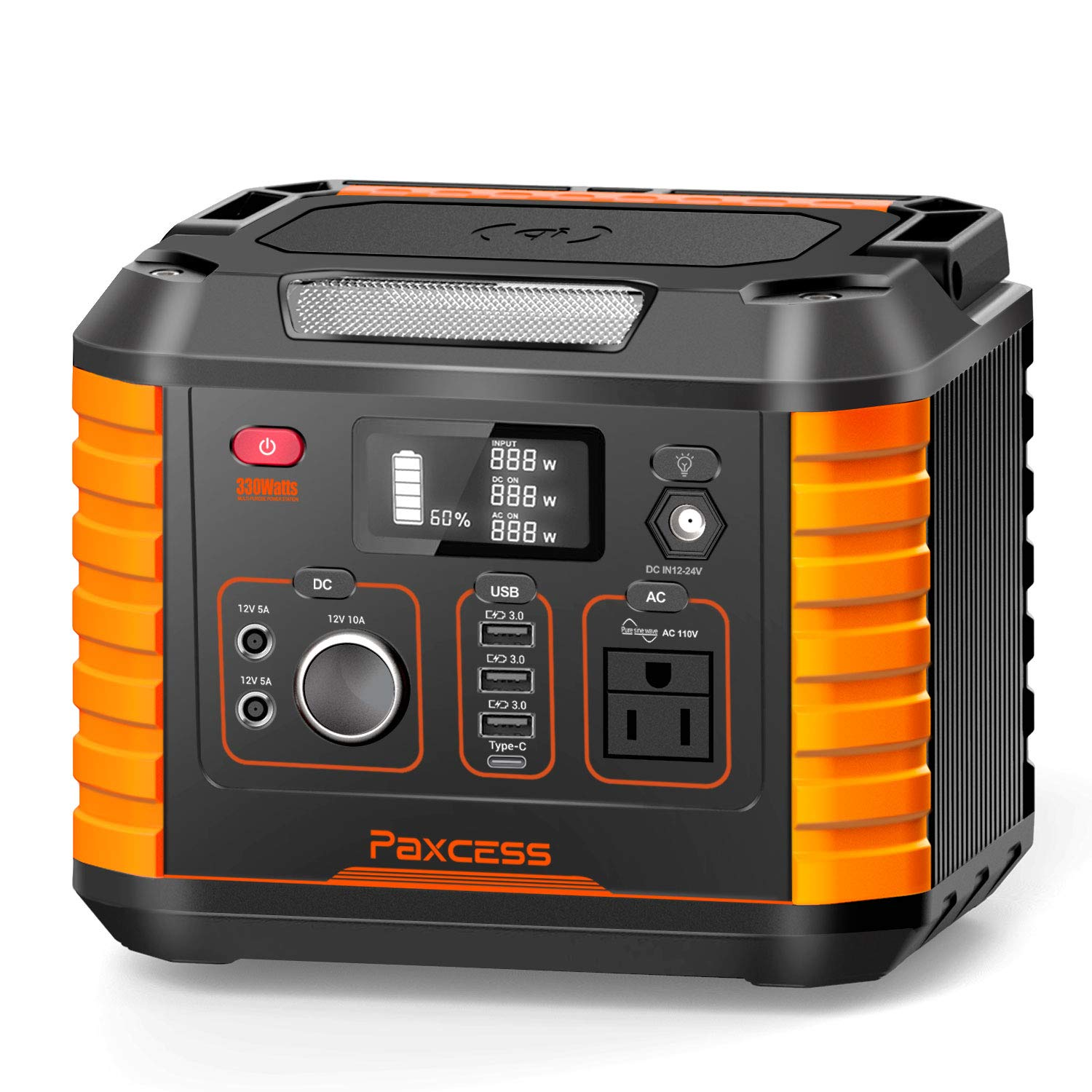 Portable Camping Generator, 330W/78000mAh Portable Power Station, CPAP Battery Power Supply,Solar Generator with110V AC, 12V/10A DC,QC3.0 &TypeC, Wireless Charger,SOS Light for Travel Home Emergency by PAXCESS