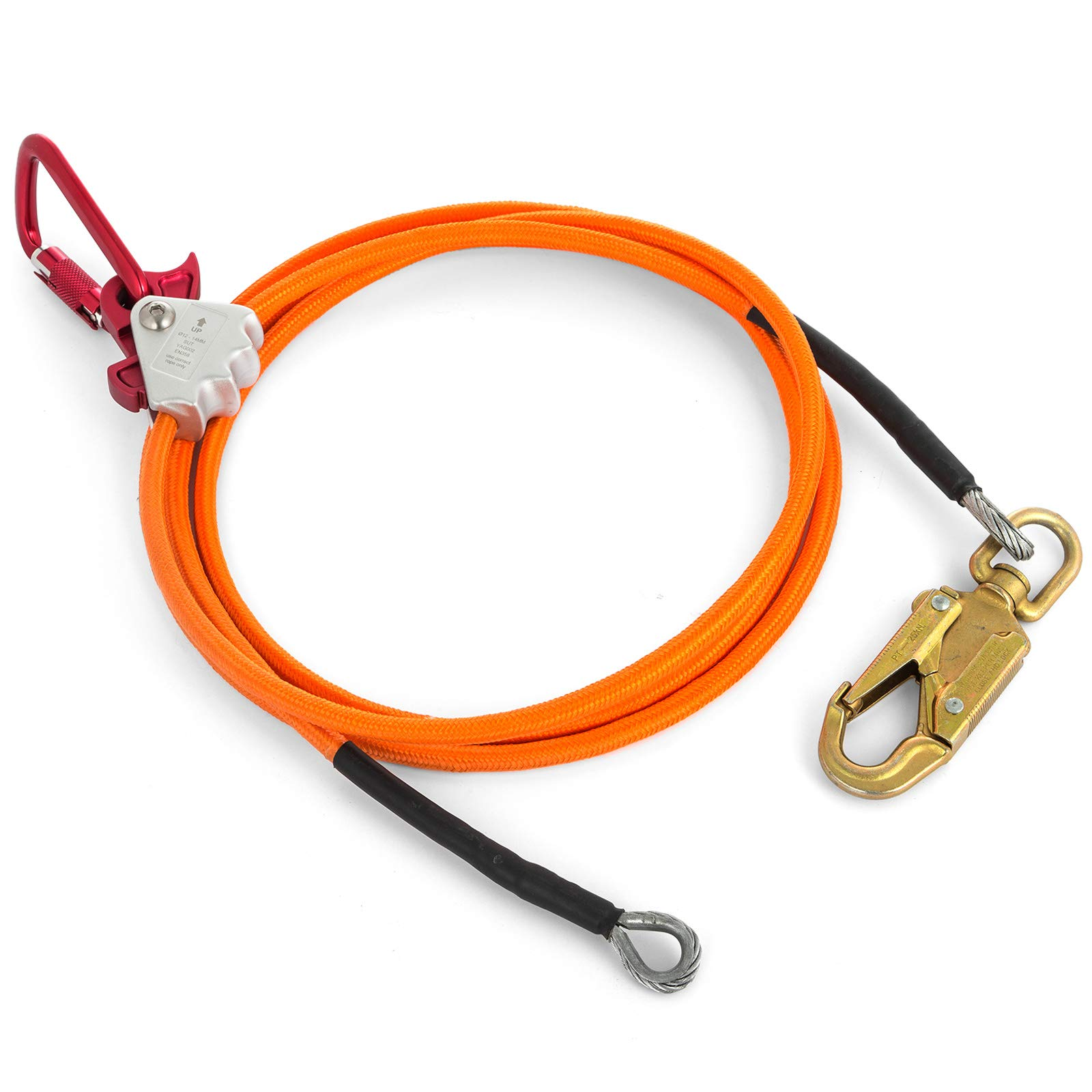 Happybuy Steel Wire Core Flip Line Kit 1/2'' X 8' Wire Core Flipline with Triple Lock Carabiner and Steel Swivel Snap Wire Core Flipline System for Arborists Climbers Tree Climbers (1/2'' X 8') by Happybuy (Image #3)