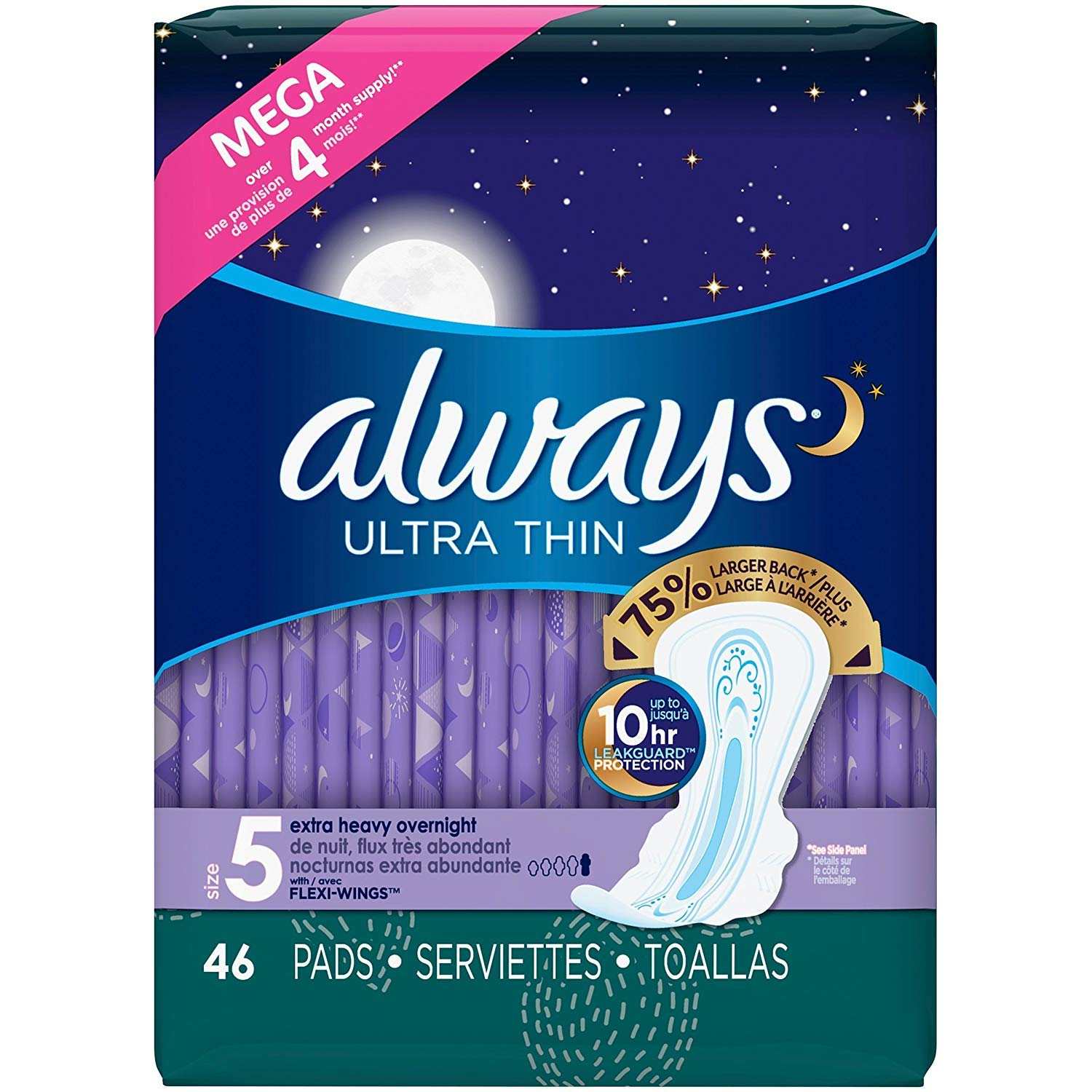Always Ultra Thin Size 5 Extra Heavy Overnight, Unscented, 46 Pads (.4 Pack(46 Count))