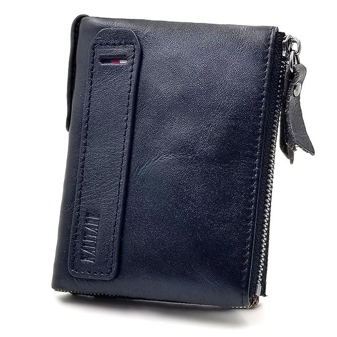 46806fa432 Mens' Wallet RFID Blocking Genuine Leather Credit Card Holder Wallet/Large  Zip Coin Pocket Purse