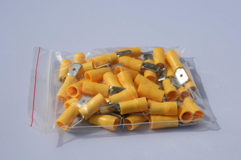 Profitec 50 Stück Kabelschuh Flachstecker Zunge 6 4 Mm Gelb Für Kabel 4 Mm