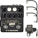 TC Electronic SpectraDrive Bass Preamp/Overdrive Pedal Bundle with 3 Patch Cables and Power Supply