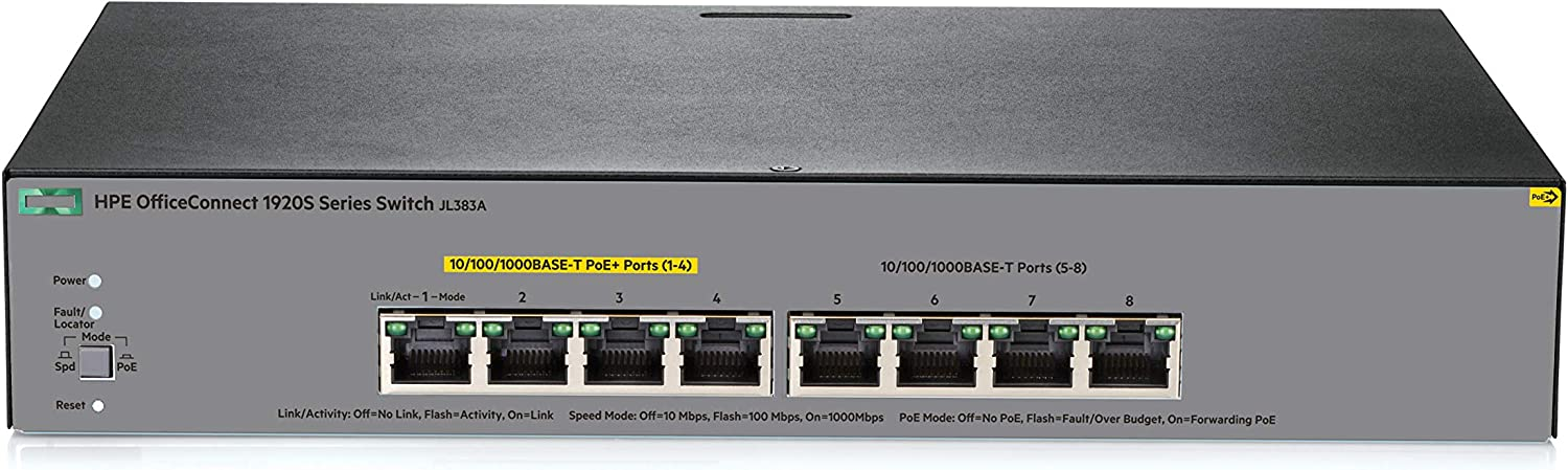 HPE OfficeConnect 1920S 8-Port Gig Smart Switch-8xGE | PoE on 4 Ports (65W) | fanless (JL383A)