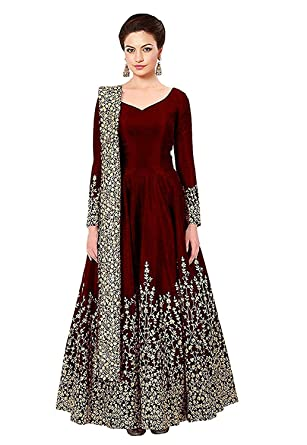 29ab3f0a33e3 Fast Fashions Women's Embroidered Taffeta Silk Anarkali Gown With Dupatta  (Semi Stitched_Free Size_Maroon): Amazon.in: Clothing & Accessories
