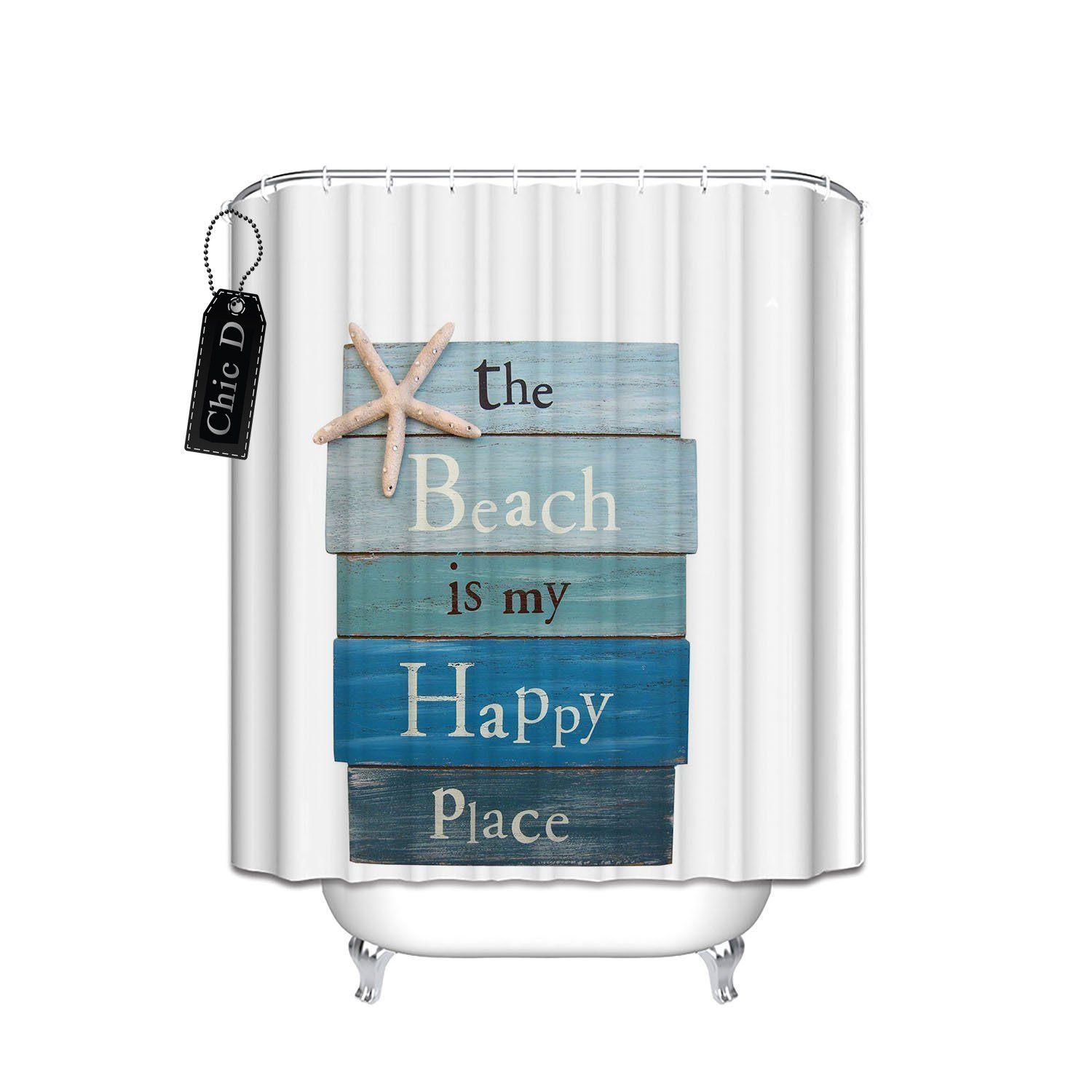 beach themed starfish shower curtain small stall size 36 x 72 inch ebay. Black Bedroom Furniture Sets. Home Design Ideas