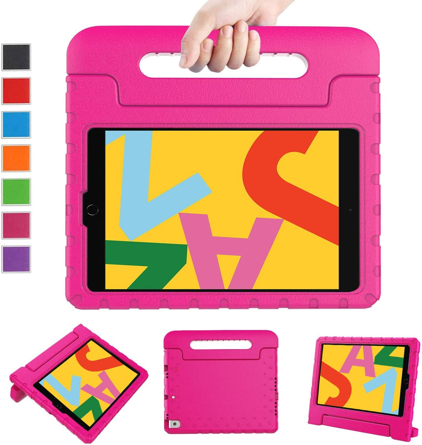 "LTROP Case for New iPad 10.2 2019 - iPad 7th Generation Case, iPad 7th Gen 10.2-inch Shock Proof Light Weight Handle Stand Kids Case for Apple iPad 10.2"" 2019 Latest Model and Air 3 - Hot Pink"