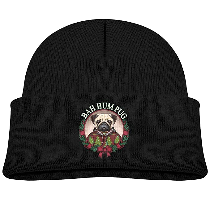 a8e0f485e8671 Image Unavailable. Image not available for. Color  Bah Hum Pug Christmas  Kid Knitted Hat ...