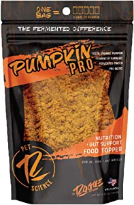 Rogue Pet Science   Pumpkin Pro Powdered Supplement for Dogs   Contains Organic Pumpkin, Turmeric Root, and Ginger Root Promoting Gut Health and Help with Loose Stools, Diarrhea, and Stress Management