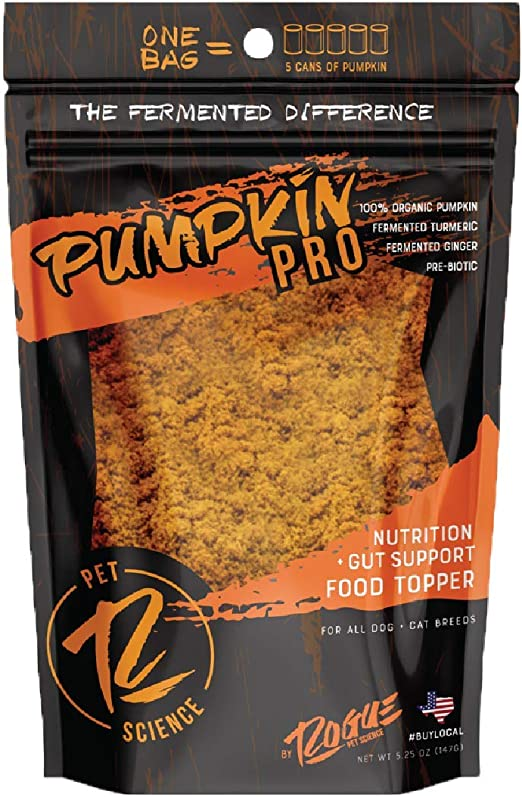Rogue Pet Science | Pumpkin Pro Powdered Supplement for Dogs | Contains Organic Pumpkin, Turmeric Root, and Ginger Root Promoting Gut Health and Help with Loose Stools, Diarrhea, and Stress Management