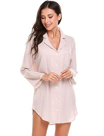 09d57c665b Jingjing1 Women Long Sleeve Sleep Shirt Button Down Night Dress ...