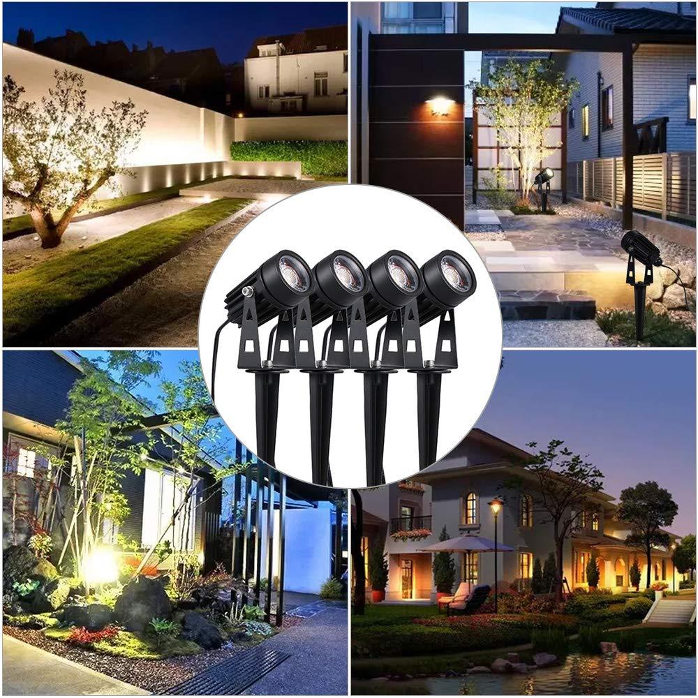 Blanc Chaud Spot LED Ext/érieur Projecteur /à Piquer 3000K,1800 Lumens Pour Jardin All/ée Terrasse Patio IP65 Etanche Tomshine 4 Pack 5W COB encastrablet Lamp