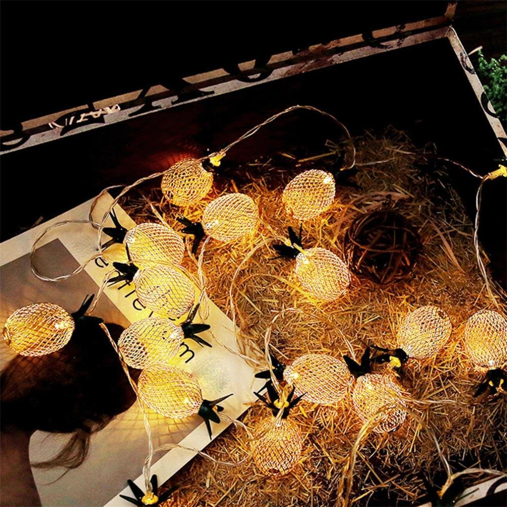 Aobiny Lamp string, LED Metal Hollowed Pineapple Holiday Decorative Lamp String (Gold) by Aobiny (Image #7)