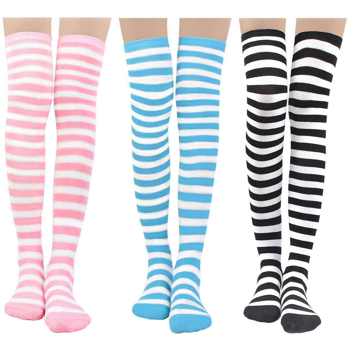 Womens Knit Knee-High Socks - Leg Warmer Knit Crochet High Boot Thigh Socks Leggings (3 pairs-fine)