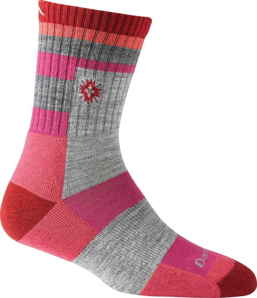 Ladies Hiking Aztec Micro Crew Light Cushion Socks - Cranberry DT1914 (small) Darn Tough Vermont