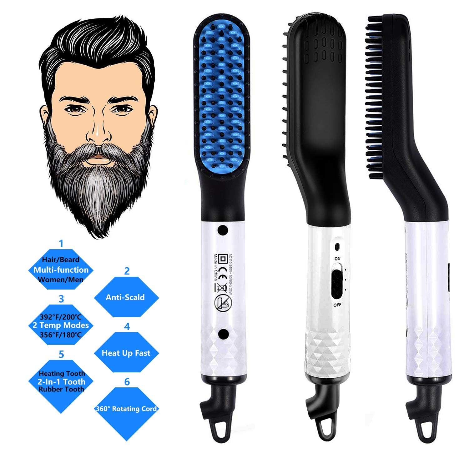 Beard Straightener for Men, Ejoy Electric Beard Straightening Brush Hot Beard Comb with 2 Temp Modes 360 Degree Rotating Cord Fast Heat up Beard Straightener Comb for Mens Short and Long Beard Hair