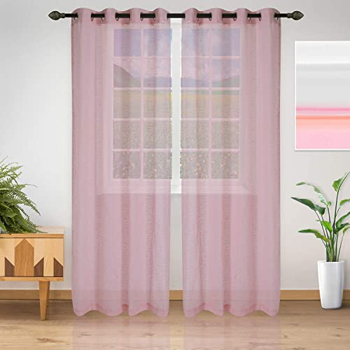 SUPERIOR Meteorite Sheer Curtains with Grommet Header, 52 x 108 , Pink, Set of 2