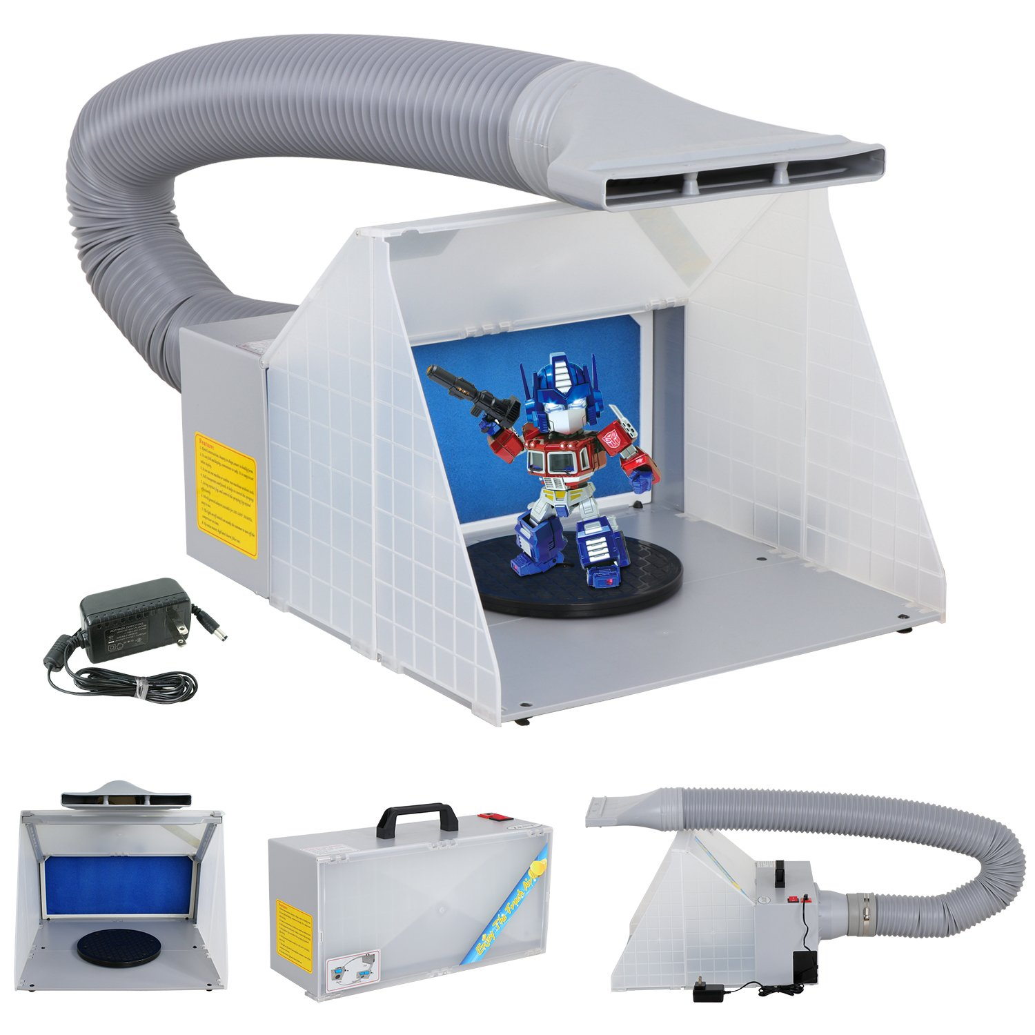 Smartxchoices Portable Airbrush Spray Booth Kit with Turn Table/Extension Hose/Powerful Paint Craft Odor Extractory for Handcraft,Painting,Art,Toy Model, Hobby, Nails, T-Shirts & More
