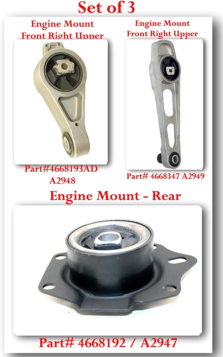 A2949 Engine Mount Front Right Lower Fits PT CRUISER NEON