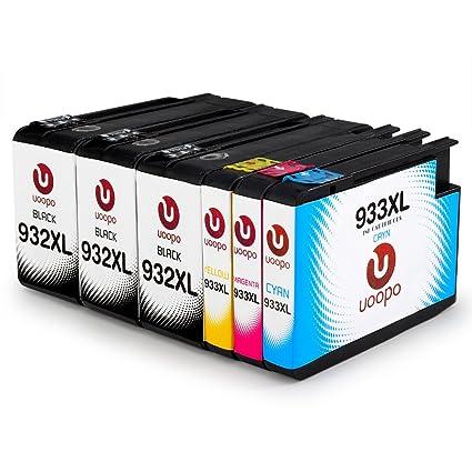 Uoopo Compatible Reemplazo HP 932XL 933XL Cartucho de tinta (3 Negro 1 Cian 1 Magenta 1 Amarillo) para impresora HP Officejet 6700 Premium 7110 6600 ...