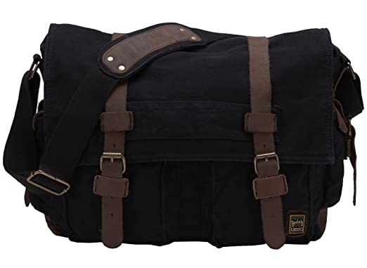 "Berchirly Vintage Military Men Canvas Messenger Bag for 14.7"" Laptop"
