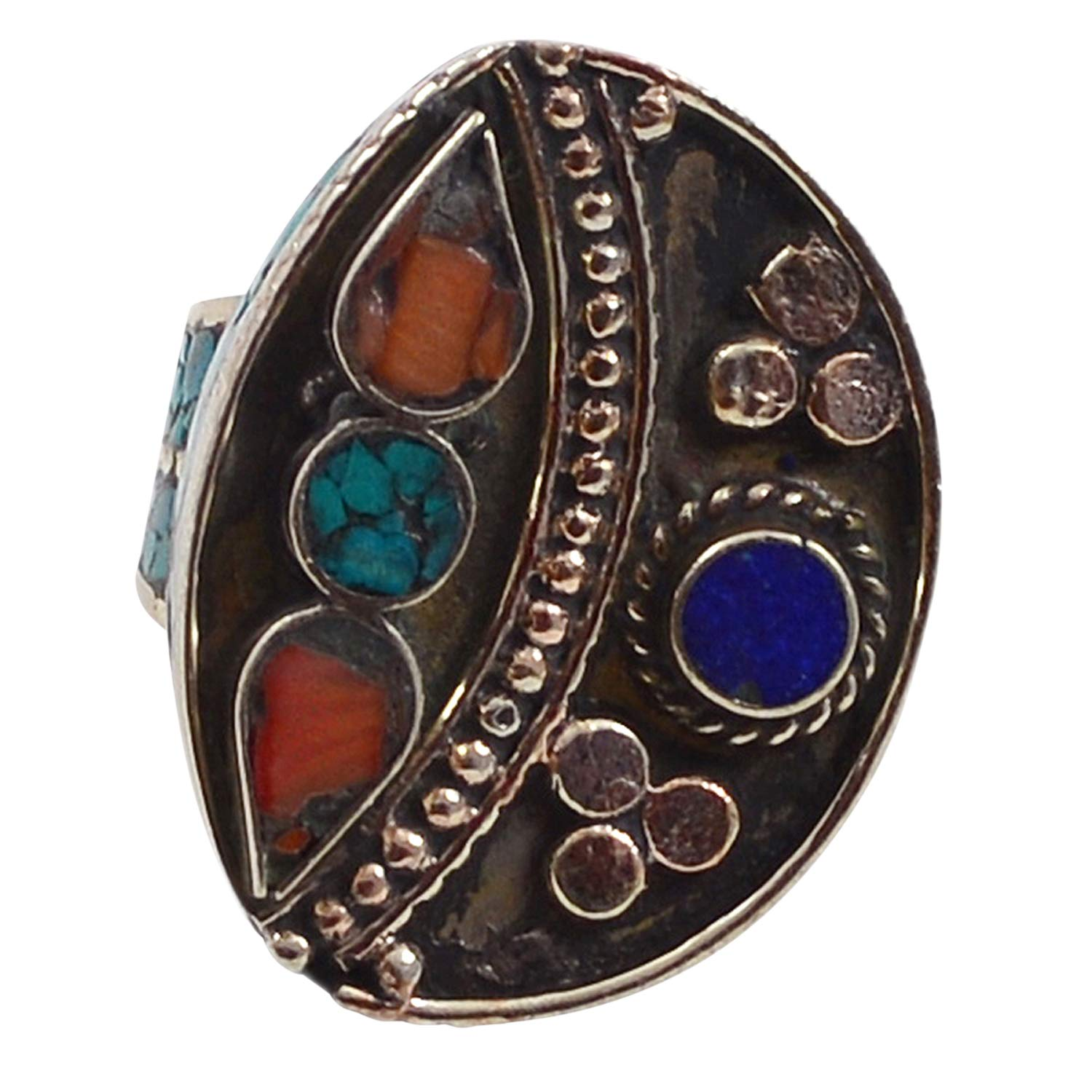 PG-117760 Turquoise /& Lapis Lazuli 925 Silver Plated Ring Sz 9 Saamarth Impex Coral