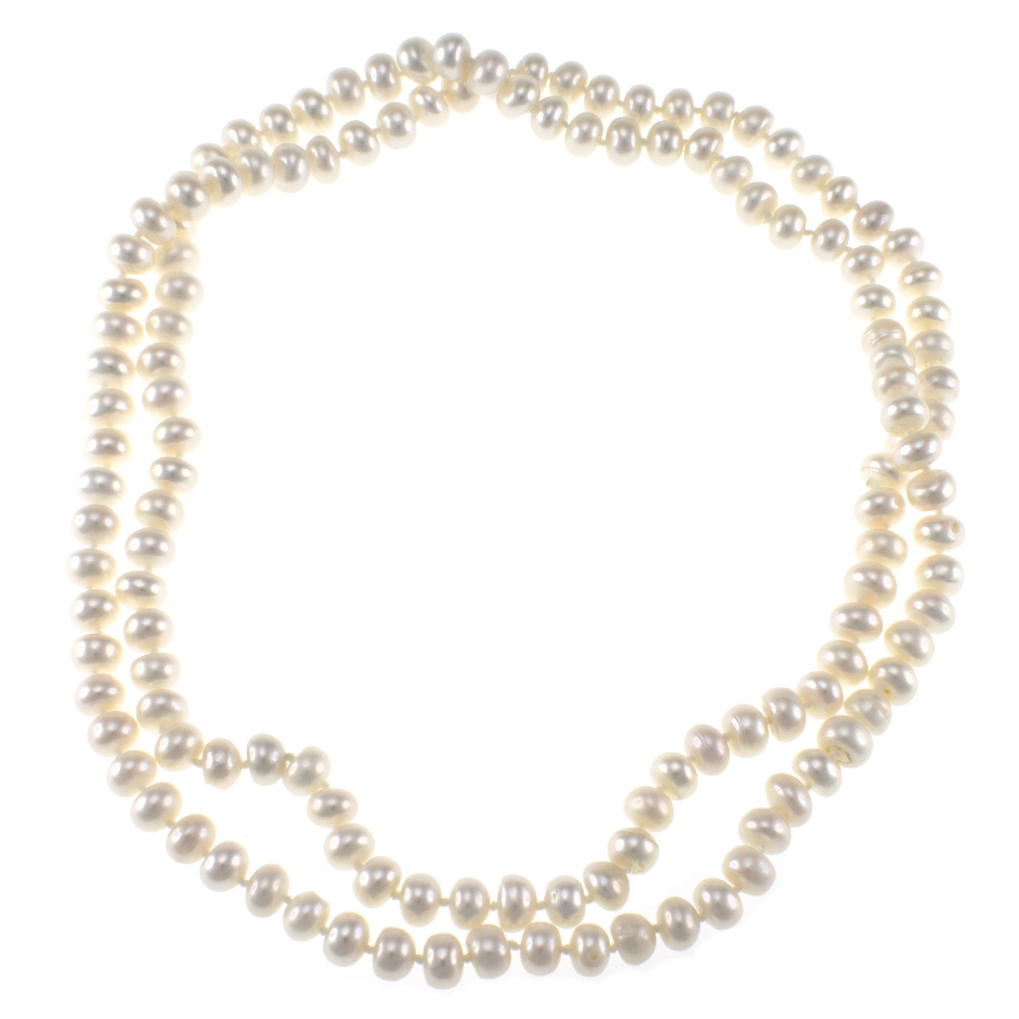 White Freshwater Cultured Pearl Endless Fashion Necklace Jewelry for Women
