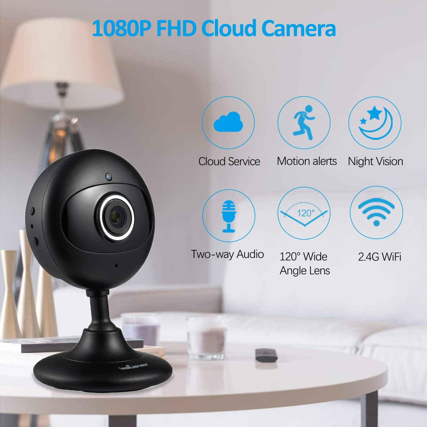 1080P Home WiFi Surveillance Indoor IP Camera with Motion Dection