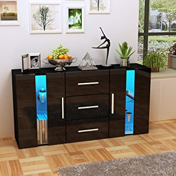 Panana Sideboard Dining Room Living Room Storage Cabinet Cupboard With LED  Lighting In Gloss Finish YX023