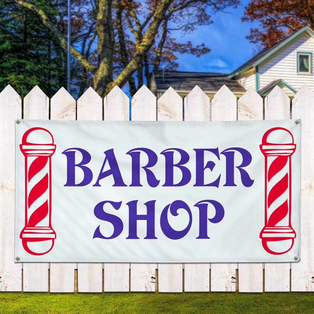 Set of 2 32inx80in Vinyl Banner Sign Barber Shop #1 Style B Business Barber Marketing Advertising Blue 6 Grommets Multiple Sizes Available
