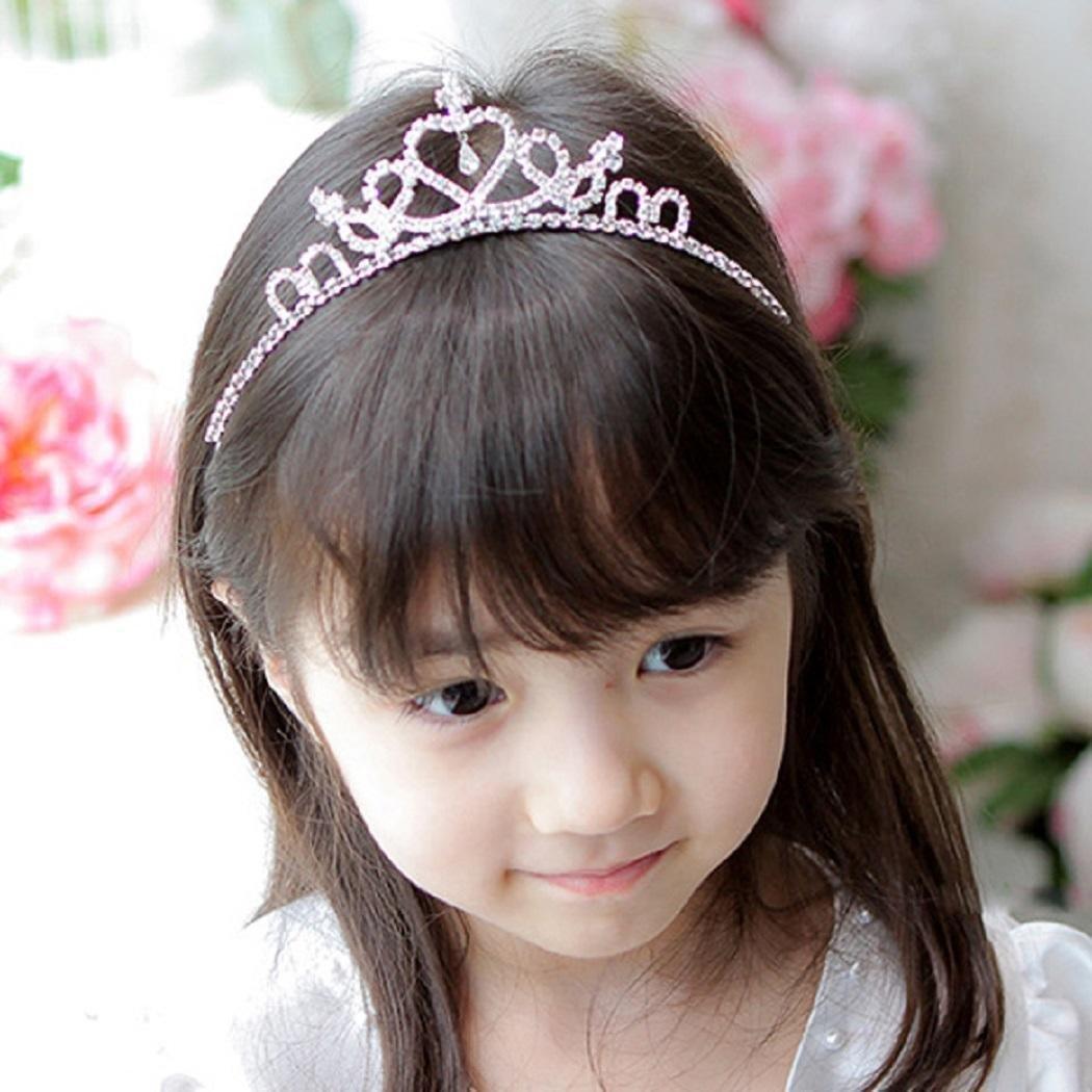 OD'lover Cute Princess Hair Band Tiara For Kids Girl Children Rhinestone Headband Silver Belts Garystan