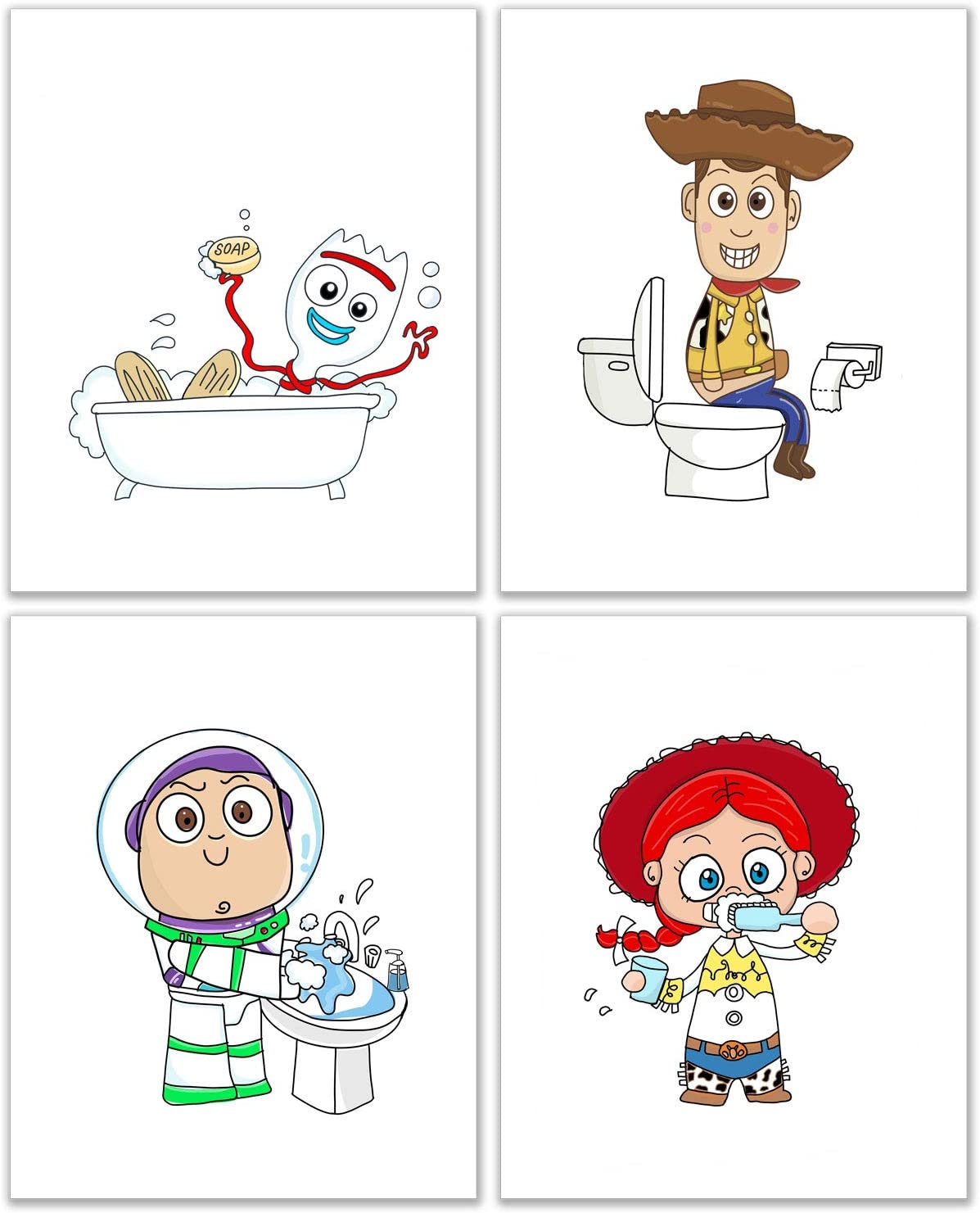 Toy Story Bathroom Photos - Set of 4 (8 inches x 10 inches) Woody Jessie Buzz Lightyear Forky Prints