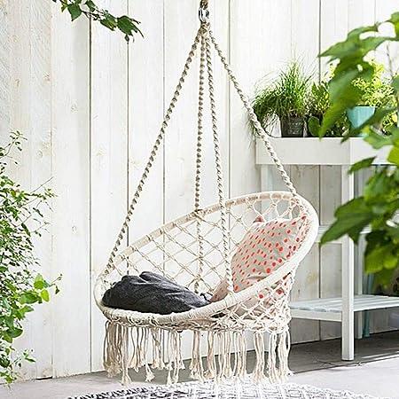 YQ WHJB Silla Colgante,Diseño Relajante Algodón Punto Silla De Swing para Interiores Al Aire Libre,Reclinable Sala De Estar Asiento para Patio Terraza Patio Jardín Bar A: Amazon.es: Hogar